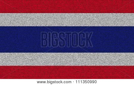 Flags Thailand On Denim Texture.