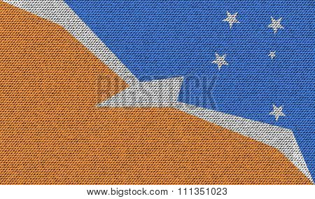 Flags Of Tierra Del Fuego Province On Denim Texture.