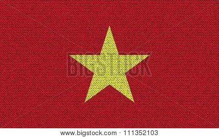 Flags Vietnam On Denim Texture.