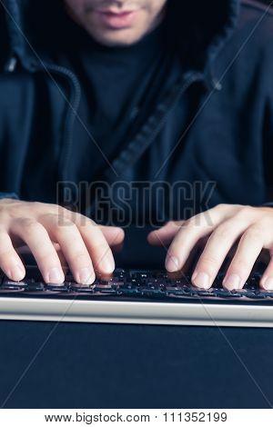 Man Writing On Keyborad Computer