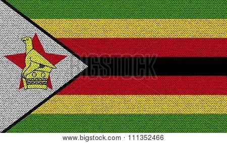 Flags Zimbabwe On Denim Texture.