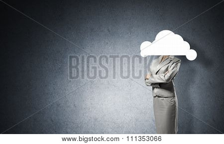 Cloud headed businesswoman