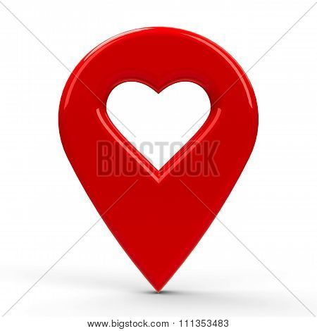Red Map Pointer With Heart