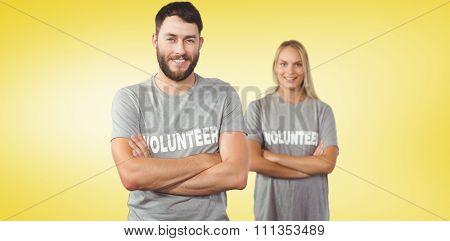 Portrait of cheerful volunteer in office against yellow vignette
