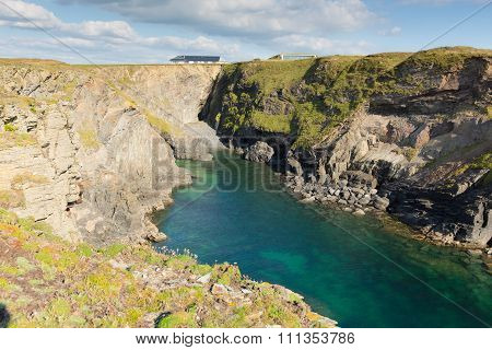 Beautiful Cornwall coast with turquoise blue sea Pepper Cove between Treyarnon and Porthcothan