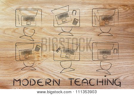 School Desks With Laptops And Text Modern Teaching