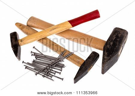 Hammer And Nails On A White Background