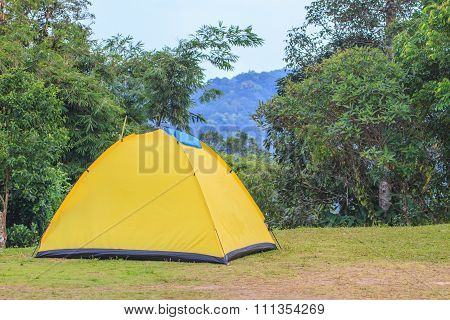 Tent On Campground In Morning
