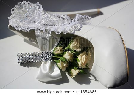 Wedding Buttonhole Bouquet And Shoe