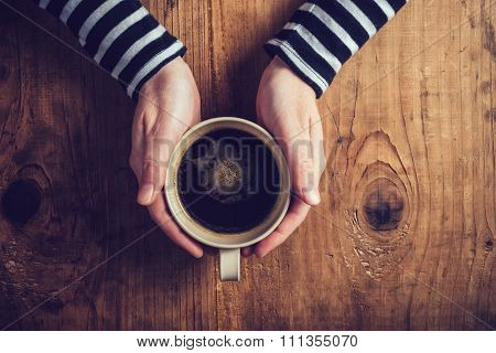 Lonely Woman Drinking Coffee In The Morning