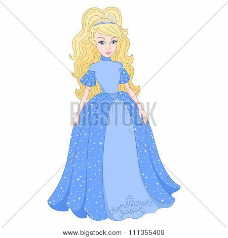 Blonde princess in shine blue dress with spangles