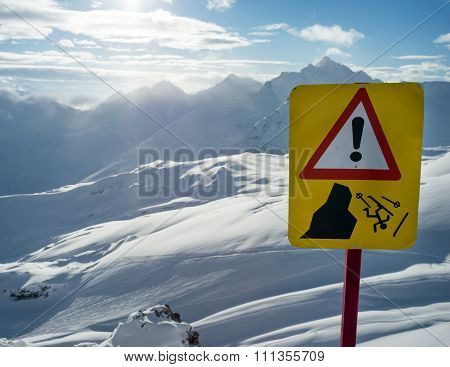 Warning Sign Of Danger In Mountains