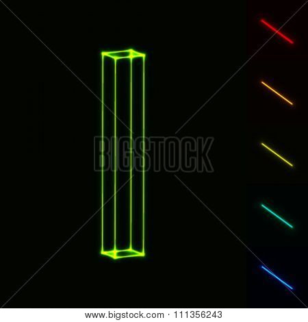 EPS10 vector glowing wireframe letter I - easy to change color