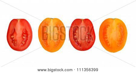 Halves Of Yellow And Red Tomatoes Isolated