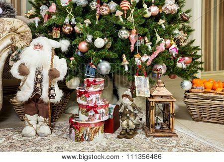 Santa Claus With Gifts In New Year's Holiday