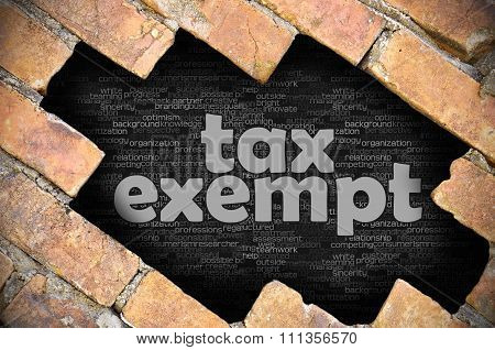 Hole In The Brick Wall With Word Tax Exempt