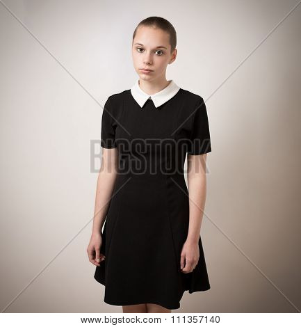 Beautiful Bald Shaven Young Teenage Girl In Black Dress