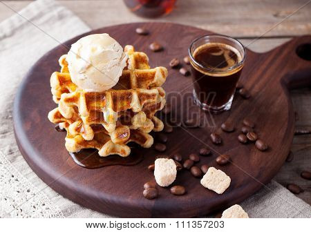 Fresh whole wheat waffles, ice cream, maple syrup