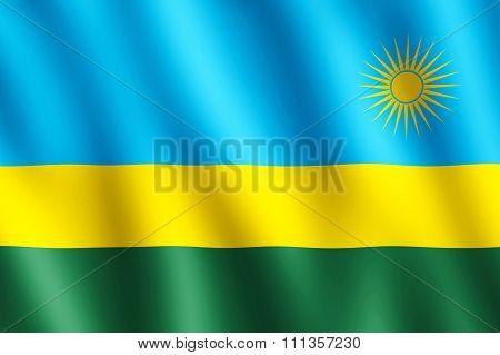 Flag Of Rwanda Waving In The Wind