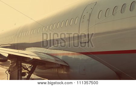 Passenger Aircraft Windows. Closeup View From Outside. Closeup view
