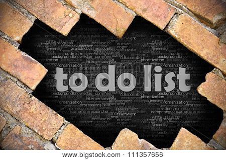 Hole In The Brick Wall With Word To Do List