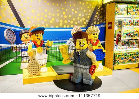 Moscow, Russia - December 11, 2015: Team Of Sculptures Tennis Sportsmen Made By Lego Blocks In Centr
