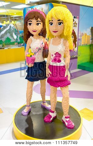 Moscow, Russia - December 11, 2015: Two Girls Made By Lego Blocks In Central Children's Store On Lub