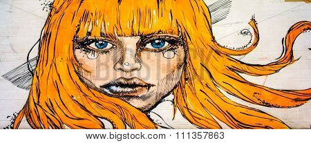 Moscow, Russia - 12 December 2015: Drawing Portrait Of A Beautiful Woman With Long Ginger Hairs On S