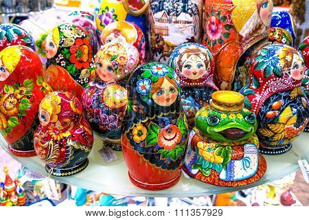 Moscow, Russia - December 11, 2015: Traditional Handmade Colorful Russian Nesting Dolls Matreshka In