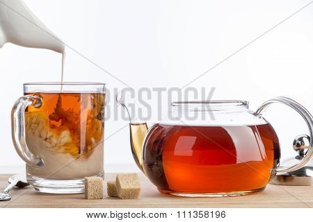 Dissolve Milk In A Cup Of Black Tea.
