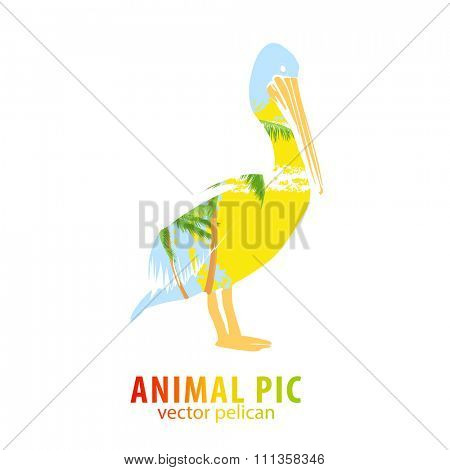 Double exposure illustration of pelican and palm trees