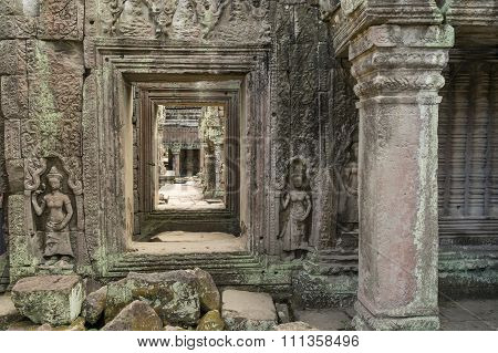 Ancient fresco on the walls of temple in Cambodia