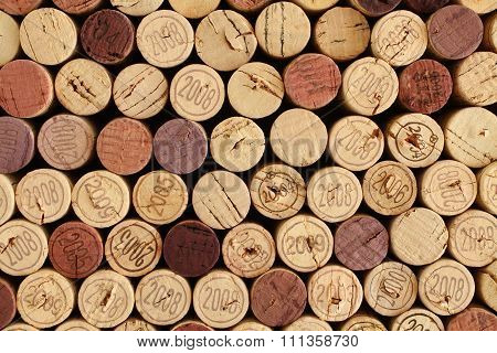 Wine bottle cork tops arranged tightly each other