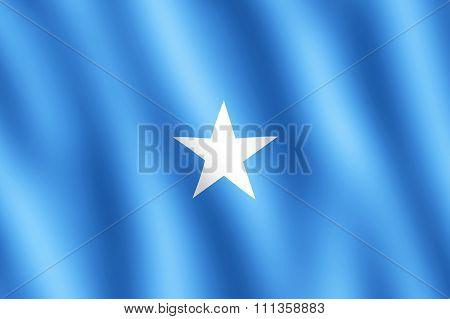 Flag Of Somalia Waving In The Wind