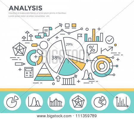 Business graph statistics, data analysis, financial report, market stats concept illustration, thin line flat design