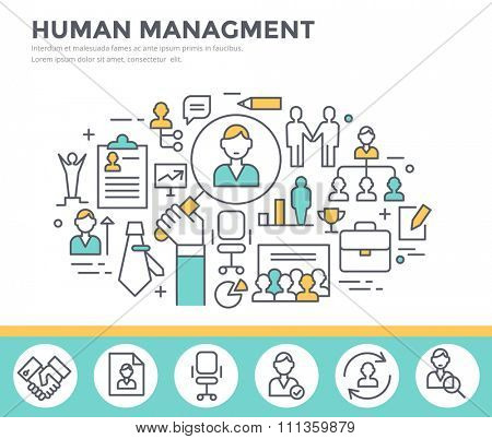 Human resource management, team building and business training concept illustration, thin line flat design