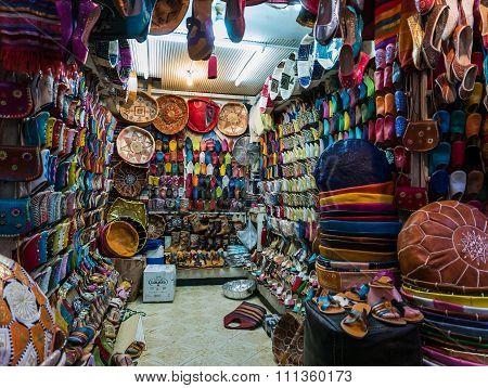 Marrakesh, Morocco - September 16, 2015 - Inside A Moroccan Shoe And Bag Sop