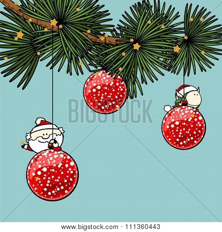 Branch of a decorated Christmas tree with cute tiny Santa Claus and fairy girl
