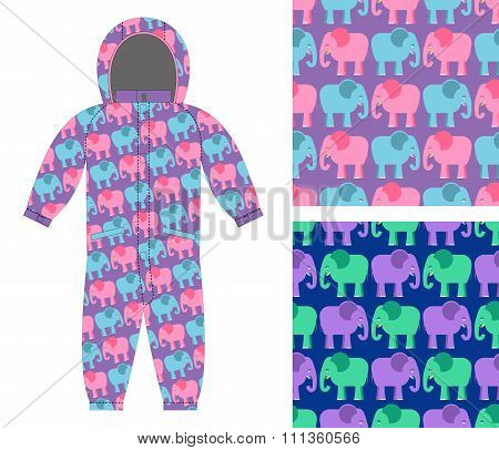 Childrens Winter Overalls. Fabric Seamless Pattern Cute Elephant. Set Of Backgrounds For Children. A