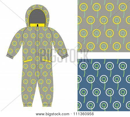 Stylish Childrens Clothing. Fashionable Overalls For Boy Or Girl. Set Of Seamless Pattern Of Circles
