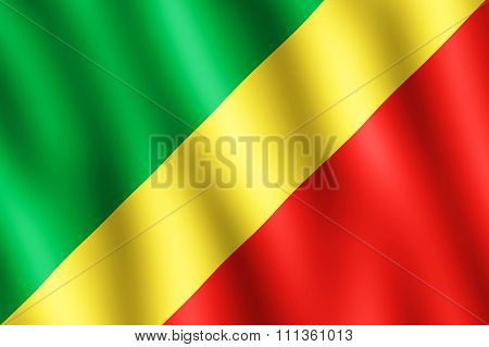 Flag Of The Republic Of The Congo Waving In The Wind