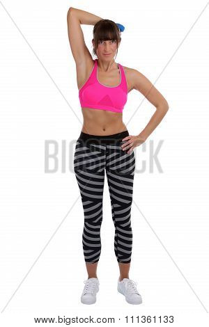Young Fitness Woman At Sports Workout Training Triceps With Dumbbell Isolated