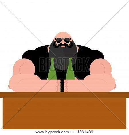 Brutal Biker Bar. Bearded Man With Spectacles. Strong Grandfather With Big Muscles. Powerful Man Wit