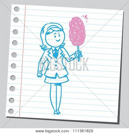 Businesswoman with cotton candy