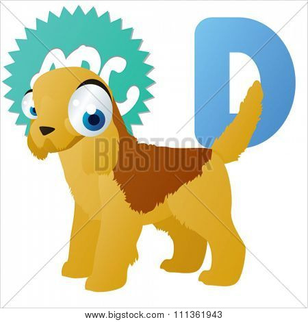 vector amusing dog breed. D is for Dog