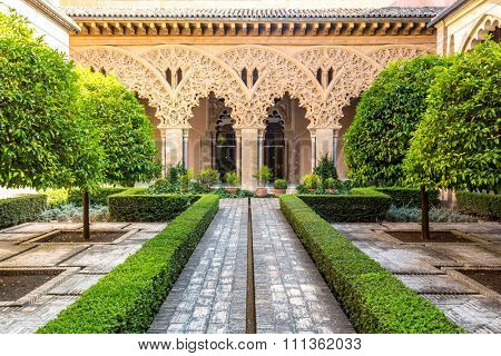 moorish garden of aljaferia alcazar of Zaragoza Spain