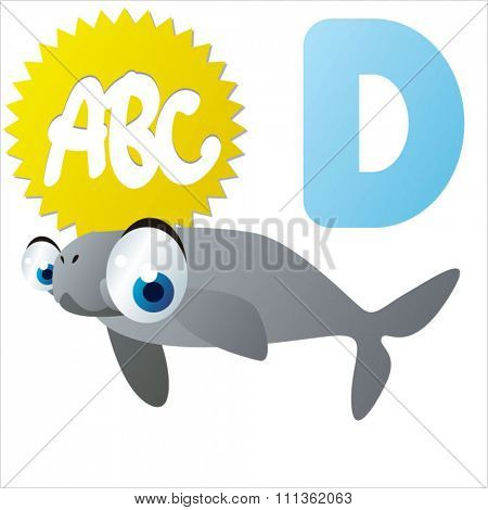 vector comic cute abc animals:D is for Dugong