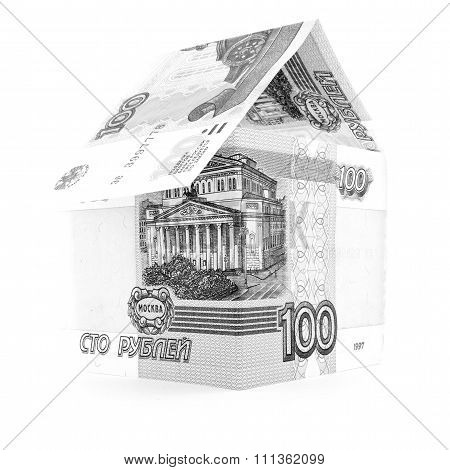 Russian Currency Ruble Establishment, Rouble Banknote Residential Isolated, White Background