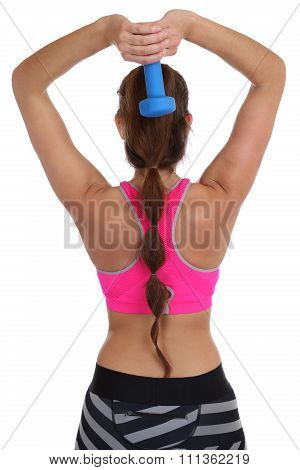 Fitness Woman At Sports Workout Training Back Shoulder Triceps With Dumbbell