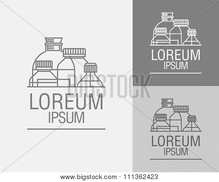 Vector Sign Template. Set Cans, Flasks.